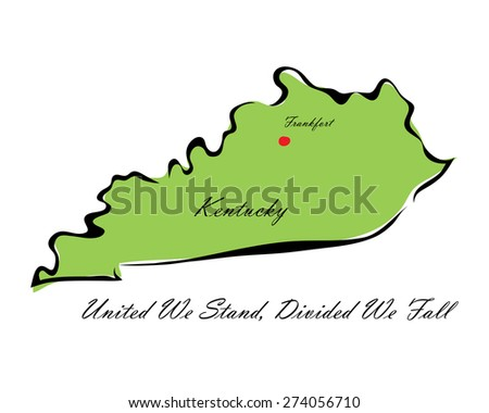 Vector illustration map Kentucky of America isolated on a white background - stock vector
