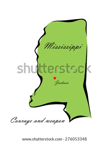 Vector illustration map Mississippi is one of the states of America isolated on a white background - stock vector