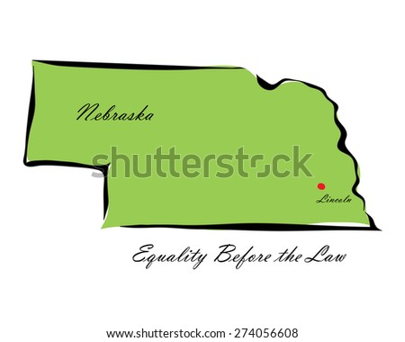 Vector illustration map Nebraska of America isolated on a white background - stock vector