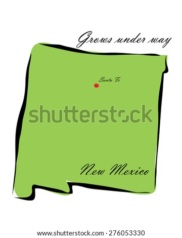 Vector illustration map New Mexico is one of the states of America isolated on a white background - stock vector