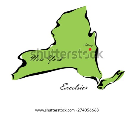 Vector illustration map New York of America isolated on a white background - stock vector