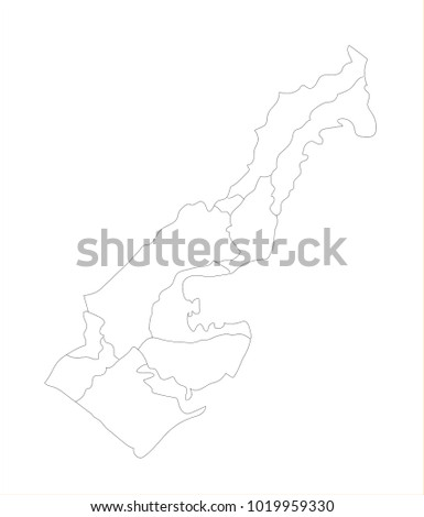 Vector Illustration Map of Monaco in white background for continue, Map Of Monaco Isolated On White Background.