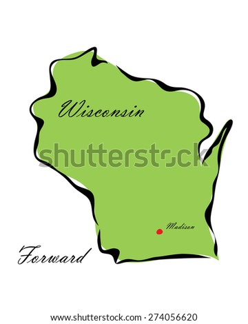 Vector illustration map Wisconsin of America isolated on a white background? - stock vector