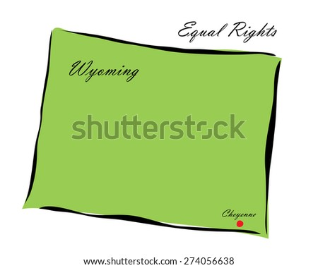 Vector illustration map Wyoming of America isolated on a white background - stock vector