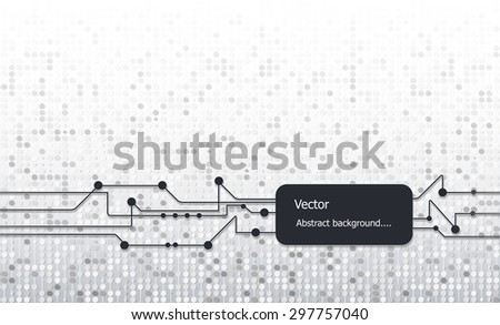 Vector illustration matrix style. Black circuit board color with Blank space for your design. Abstract Virtual Technology stripe line with circles pattern over white and light gray color background - stock vector
