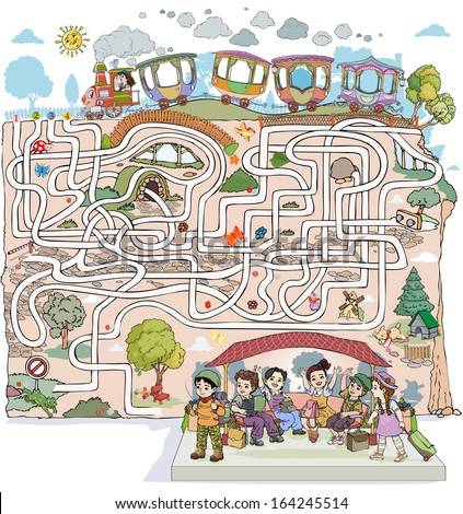 Vector illustration, maze, discover the road that takes the train to the station full of kids, card concept.
