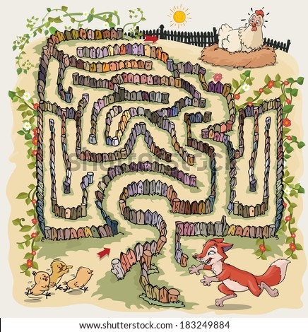 Vector illustration, maze, help the chickens reach the hen, card concept.