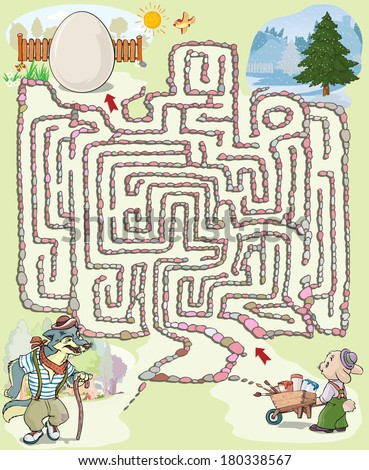 Vector illustration, maze, help the rabbit to reach the Easter egg, card concept.