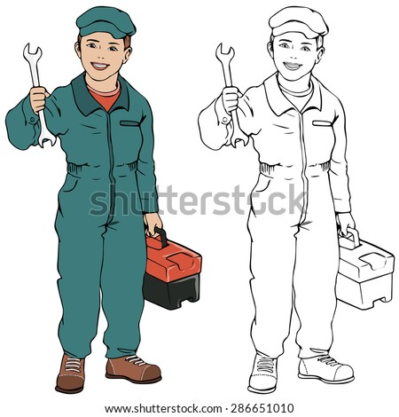 Vector illustration, mechanic boy, coloring drawing, card concept, white background.