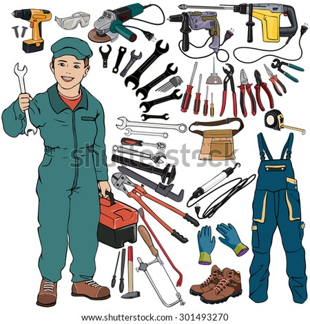 Vector illustration, mechanic gear, cartoon concept, white background.