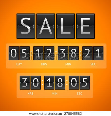 Vector illustration. Mechanical timtable sale. The concept of the countdown isolated on a orange background.