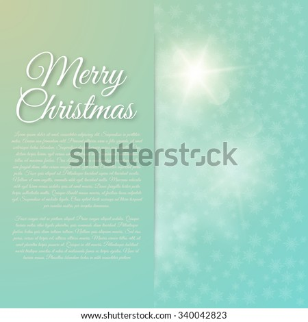 Vector illustration Merry Christmas. Abstract background with light.