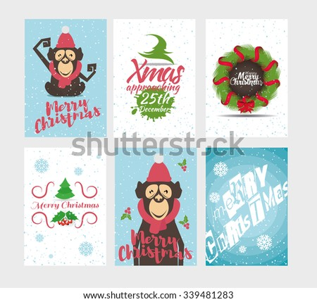 vector illustration Merry Christmas, merry gift cards, holiday happy animals set