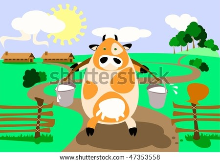 Vector illustration: milk-cow is bringing two heavy pail full of milk.