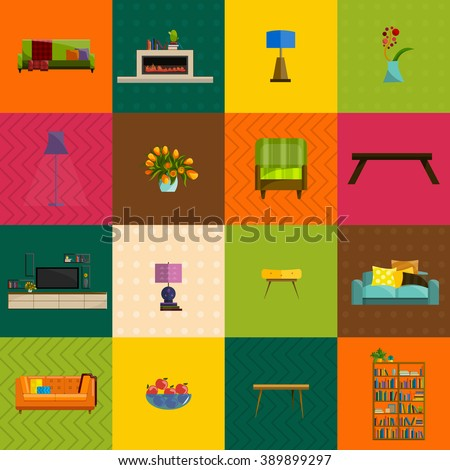 vector illustration,modern home furniture in living room interior design, house indoor wall decorated with sofa, lamp, table