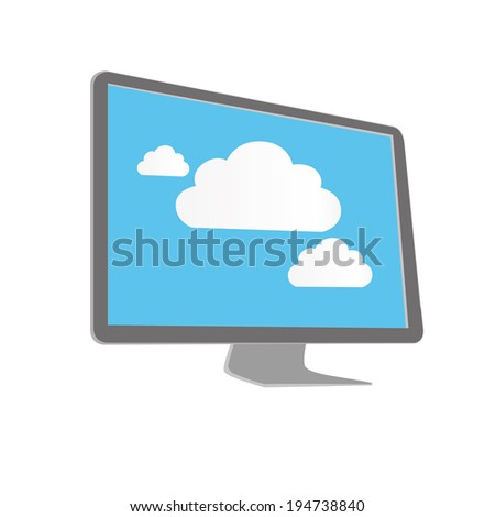vector illustration modern monitor with blue screen and clouds - stock vector