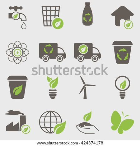 vector illustration modern set of eco icons