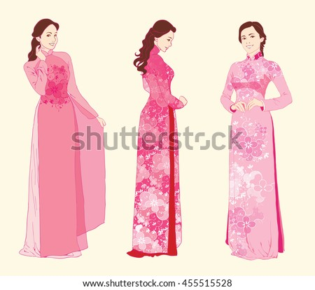 Vector illustration modern Vietnamese women wearing traditional costumes Ao Dai.