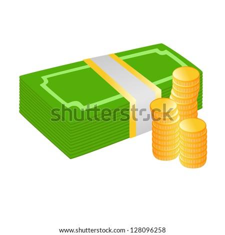 Vector illustration money bills and coins - stock vector
