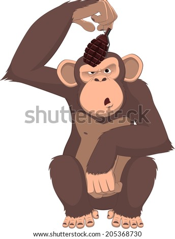 Vector illustration, monkey with a grenade - stock vector