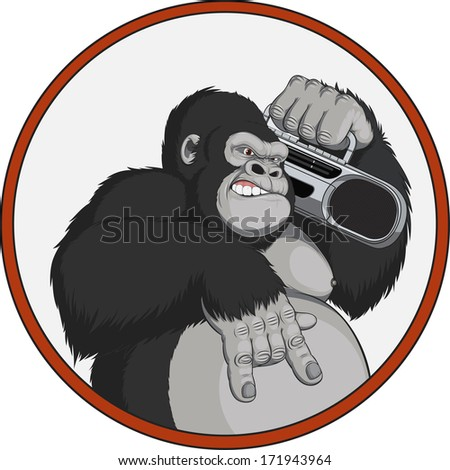 Vector illustration: monkey with a tape recorder - stock vector