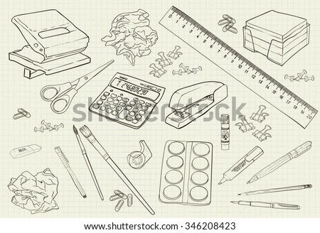 vector illustration monochrome handwritten stationery