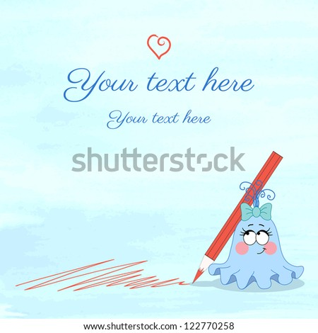 Vector illustration. Monster girl with crayon  on watercolor background. Blots of paint. Easily edit the colors. Place for your text - stock vector