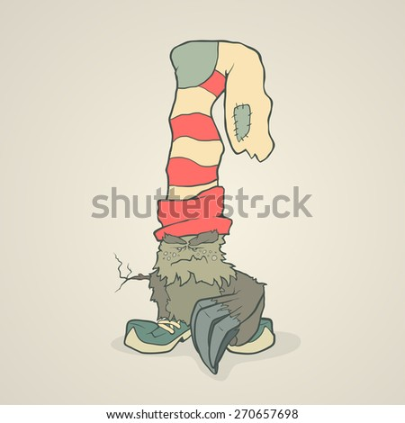 Vector illustration monster with a sock or stocking on his head with large claws on the paw and the branch instead of the second hand. Hand drawing cartoon. The concept of the character on a uniform - stock vector