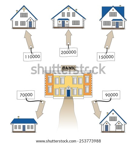 Vector illustration: mortgage loan to buy a house. Infographics: Mortgage loan as a cash flow. Buying real estate in white, blue, grey colors. Banking services for the provision of mortgage lending. - stock vector