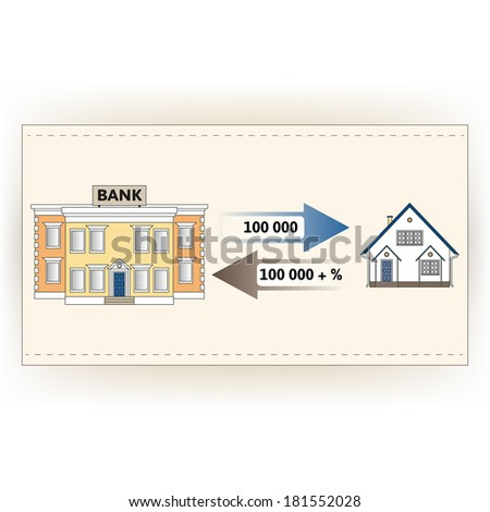 Vector illustration: mortgage loan to buy a house. Returns mortgage loan with interest. Infographics: Mortgage loan as a cash flow. Buying real estate in white, yellow, brown, blue colors. - stock vector