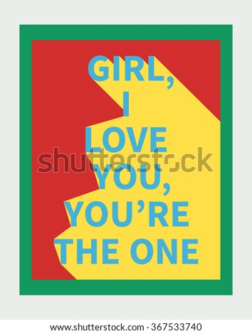 Vector illustration: motivation poster with love slogan with diagonal shadow made in bright colors and pop-art style - stock vector