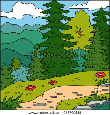 Vector illustration, natural background (forest)