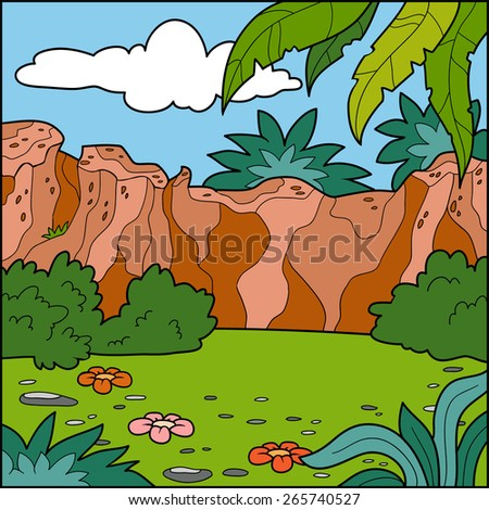 Vector illustration, natural background (lawn and mountains)