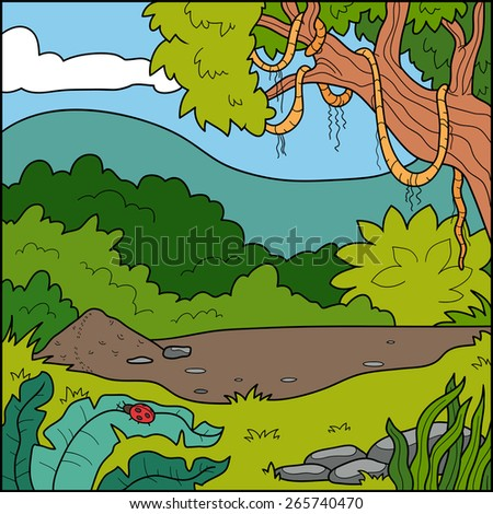 Vector illustration, natural background (tropical forest)