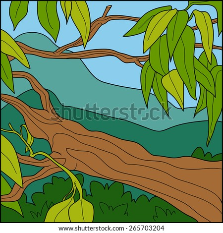 Vector illustration, natural background (tropical tree)