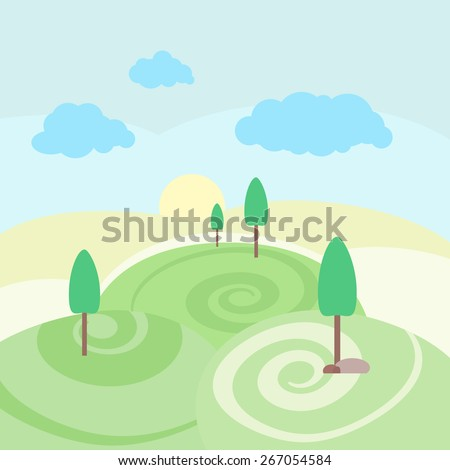 Vector illustration nature landscape. Summer outdoor background with trees, green mountains, clouds, fields, hill, grass, sky, clouds, sun. Meadow spring scene. - stock vector