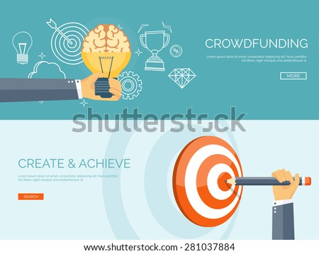 Vector illustration. New ideas and smart solutions, business aims and target. Achievements and brainstorm. Teamwork. - stock vector