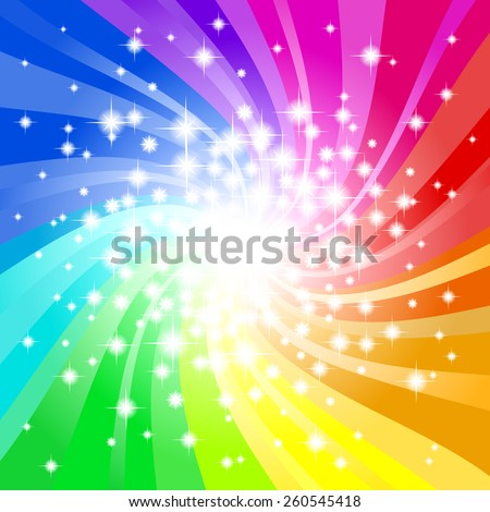 vector illustration of a abstract rainbow colored star background  - stock vector