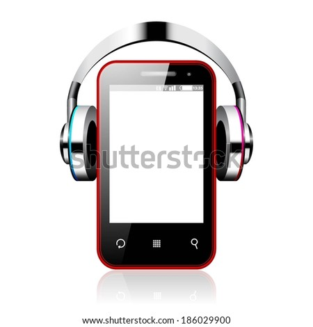 Vector illustration of a Android smart phone with headphones isolated on white