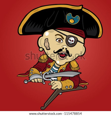 Vector illustration of a baby pirate