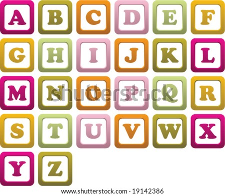 Vector illustration of a baby's building blocks with the letters of the alphabet on them. - stock vector