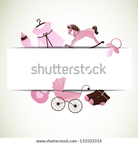 Vector Illustration of a Baby Shower - stock vector