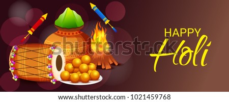 Vector illustration of a Background for Traditional Indian Festival Holi Celebration.