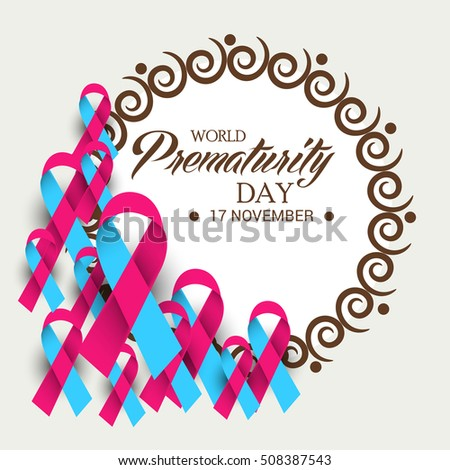 Vector illustration of a Background For World Prematurity Day with Pink and Blue Ribbon.