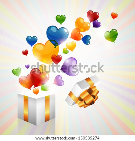 Vector Illustration of a Background with Heart Balloons Flying out of a Gift - stock vector