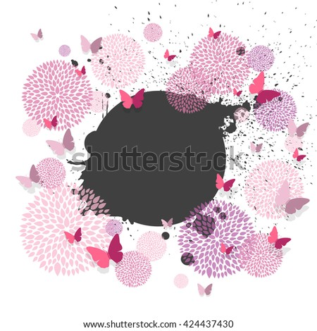 Vector Illustration of a Background with Paper Butterflies and Floral Design Elements - stock vector