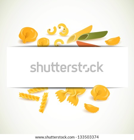 Vector Illustration of a Background with Various Pasta Types - stock vector