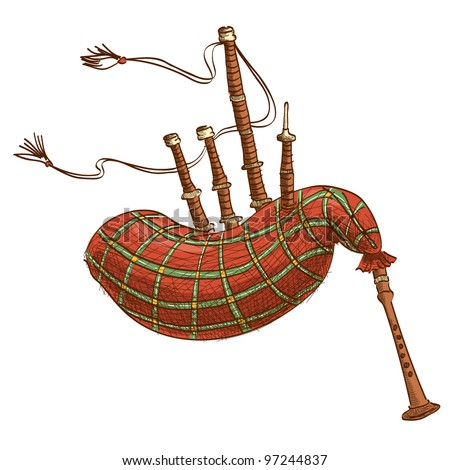 Vector illustration of a bagpipe isolated on white - stock vector