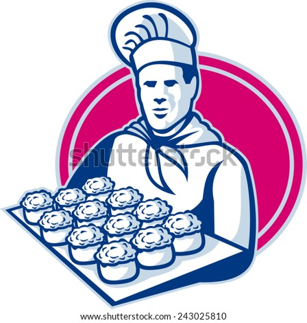 vector illustration of a baker chef cook serving tray of pork meat pies set inside ellipse done in retro style. - stock vector