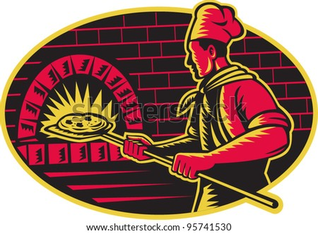 vector Illustration of a baker with long handled bread pan  baking pizza into wood fire oven done in retro woodcut style set inside ellipse. - stock vector